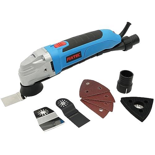 Fixtec® Expert 300W Multifonction Oscillant, avec BMC,Raccord pour Aspirateur, Plateau de Ponçage,feuilles abrasives et Lame