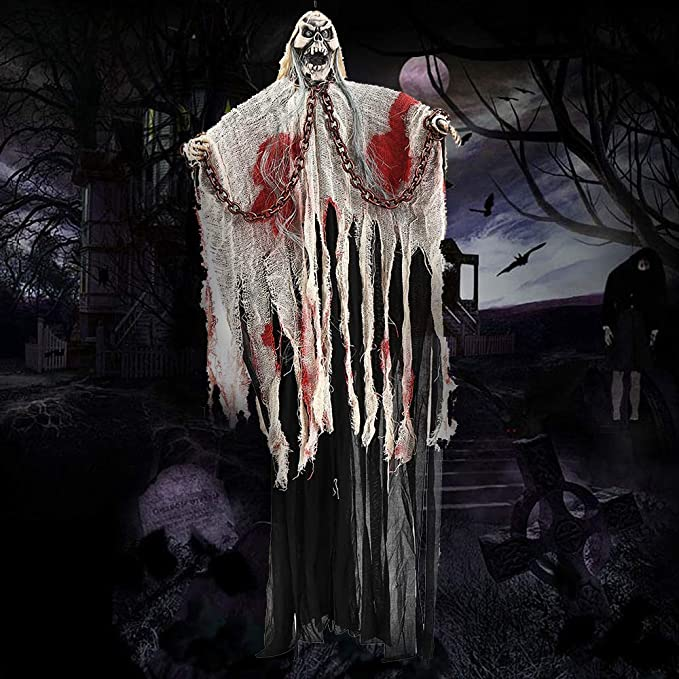 Hanging Skeleton Decoration Hanging Ghost Light Up Eyes Scary Voice Sound Control Halloween Props Indoor Outdoor Haunted House Prop Theme Bar Decor