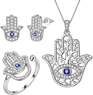 Aurora Tears Hamsa Hand Jewelry Women 925 Sterling Silver Hand of Fatima Necklace/Earring/Ring Good Luck Success Amulet Je...