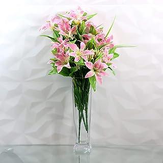 Saidan SD Florero Cristal Base Cuadrada Alto para Decorar Tu Hogar Floreros de Diseño Cuadrado 30 cm