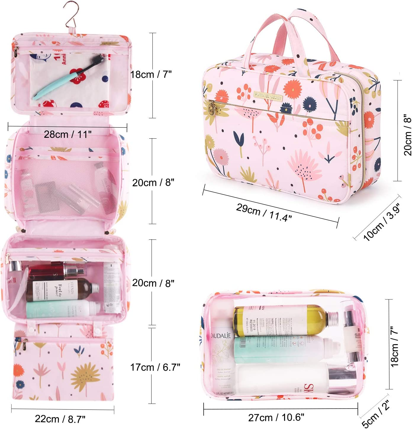 Hanging toiletry bag large travel toiletries organizer with detachable tsa approved transparent cosmetic bag for women