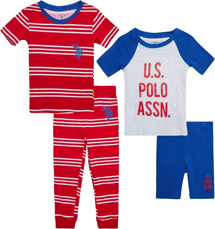 U.S. Polo Assn. Boys' Pajama Set - 4-Piece Multipack Sleepwear Bundle (Sizes 2T-12)