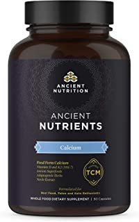 Ancient Nutrients Calcium - Food Form Calcium, Vitamin D for Immune Support & K2, Adaptogenic Herbs, Enzyme Activated, 90 ...