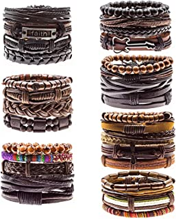 Genuine Braided Woven Leather Bangle Bracelets Cuff Wristbands 15-25CM(5.91-9.84