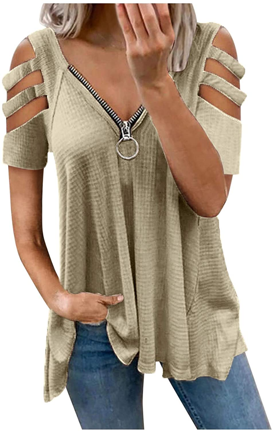 siilsaa Summer Tops for Women, Womens Solid Zipper V-Neck Short Sleeve T-Shirts Plus Size Tops Blouse Basic Tunic Tee