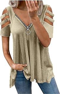 YJUU Damen Blusen Reißverschluss Bluse Elegante T-Shirt Tops Damen V-Ausschnitt T-Shirt Sommer Tunika Lose Oberteil Tops Shirt