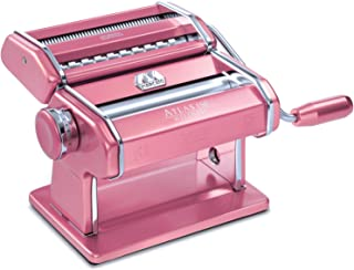 Marcato Atlas 150 Machine, Made in Italy, Pink, Includes Pasta Cutter, Hand Crank, and Instructions