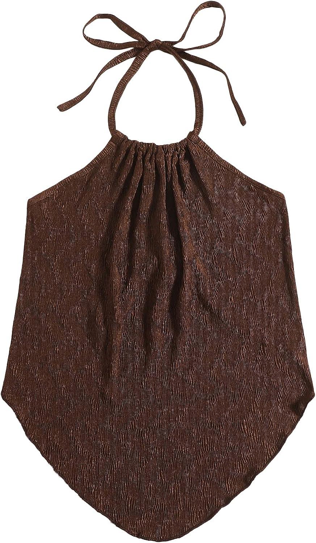 Floerns Women's Asymmetrical Hem Backless Tie Back Halter Crop Cami Top