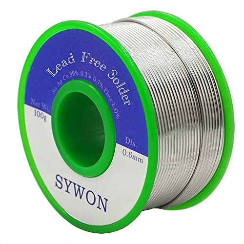 Sywon Lead Free Solder Wire Tin Reel with Rosin Core for Electric Soldering, Sn 99