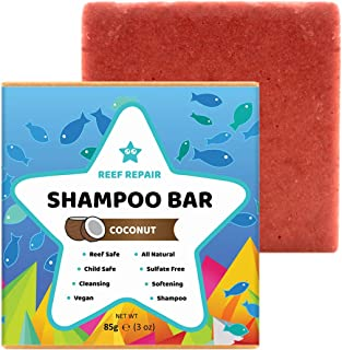 Reef Safe Shampoo Bar - Coconut. All Natural Organic & Baby Safe, Solid Shampoo Bar for Hair. Cleansing, Softening, Biodegradable and 100% Vegan. Sulfate Free, Eco-Friendly Shampoo Bars from Reef Repair 85g