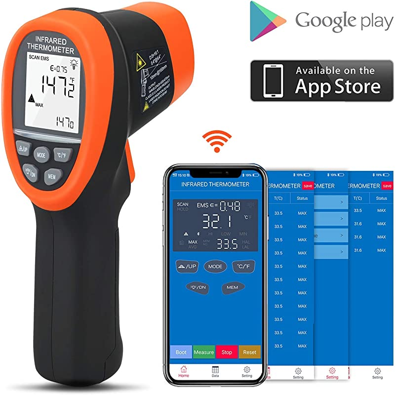 BTMETER BT 985CAPP Bluetooth 12 1 Digital Infrared Thermometer Temp Range 58 1472 50 800 Non Contact IR Temperature Gun Tester With Backlit MAX MIN AVG For Kitchen Food Cooking HVAC Automotive