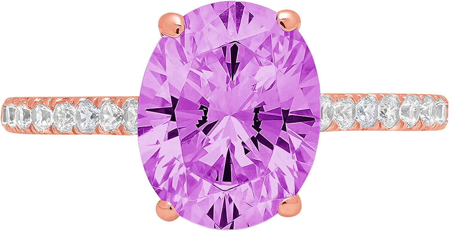 2.71ct Brilliant Oval Cut Solitaire Accent Genuine Flawless Simulated Alexandrite Gemstone Engagement Promise Anniversary Bridal Wedding Ring Solid 18K Rose Gold