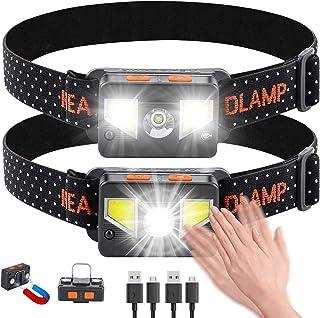 bedee Linterna Frontal LED Recargable, Linterna Cabeza USB 8 Modos con Sensor y Luz Roja, 1000 Lúmenes Frontal LED Recarga...