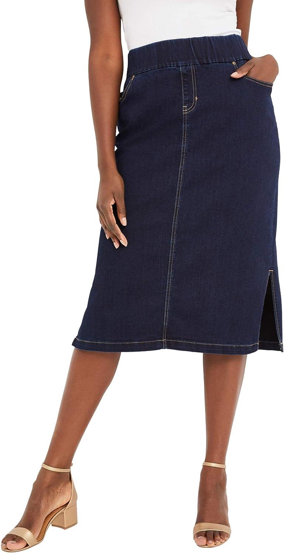 Jessica London Women's Plus Size Comfort Waist Midi Skirt Elastic Waist Stretch Denim