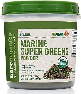 BareOrganics Marine Super Greens Powder | USDA Organic, Gluten-Free, Vegan, Non-GMO, BPA-Free | Kelp, Chlorella, Spirulina...