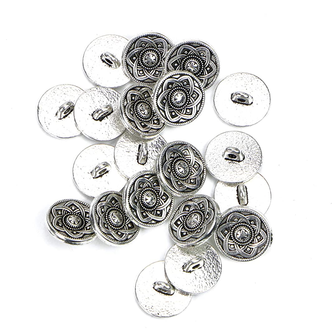 Monrocco 20Pcs Antiqued Silver Metal Buttons Carved Pattern Round Decorative Buttons for Sewing Crafts n293730389