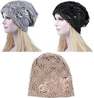 Fashionsupermarket 1-3pcs Auto Winter Chemo Cap Slouchy Beanie Hat, Double Layer Lace Cotton Knit, Lightweight Cancer