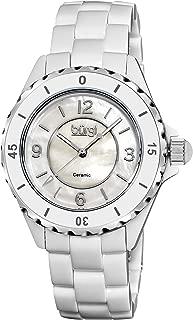 Women's Ceramic Watch - Gear-Edge Bezel on Mother-of-Pearl Dial On Ceramic Link Bracelet - BUR057