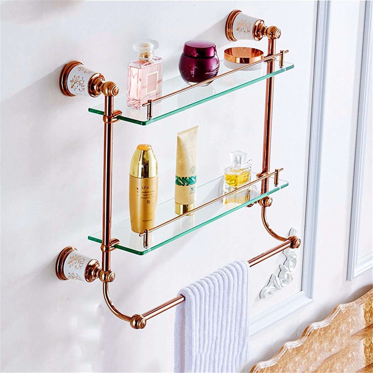 Continental Copper pink gold Ceramic Bathroom Accessory kit Racks, Built-in Shelf 2