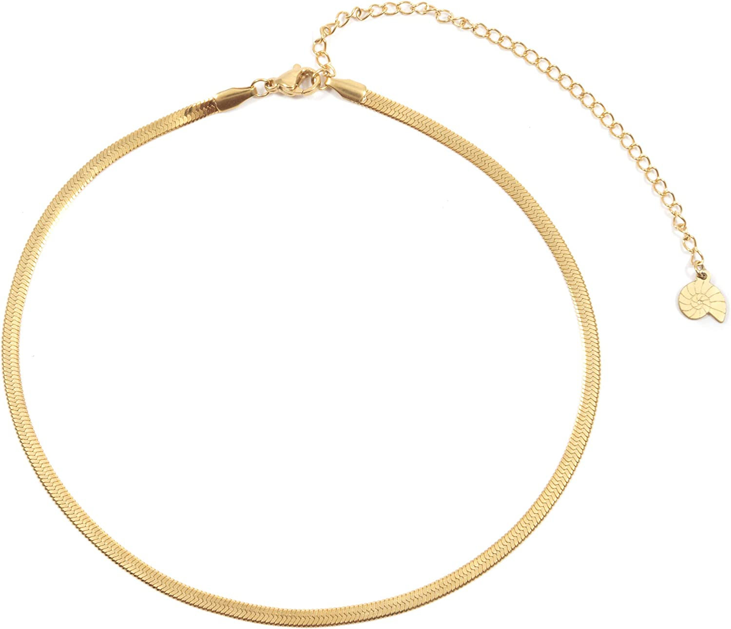 Happiness Boutique Women Herringbone Choker Necklace in Gold Color Delicate Necklace Stainless Steel