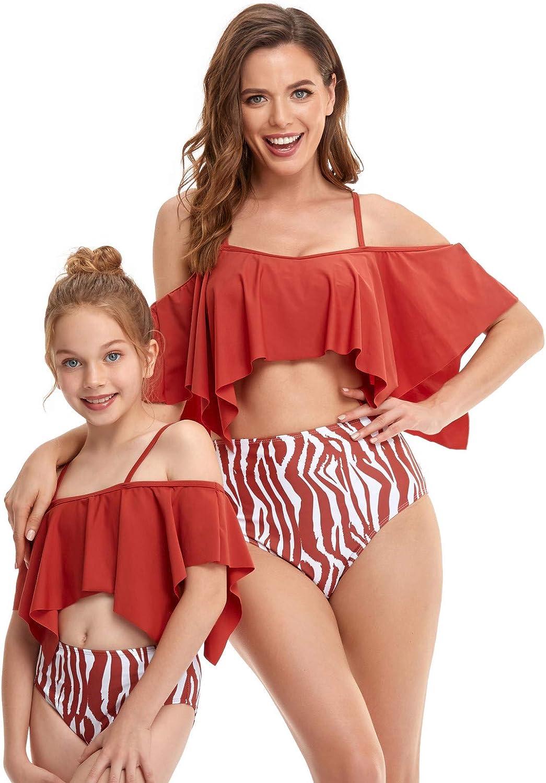 Mommy and Daughter Matching Family Swimwear Summer Beach Halter Ruffle Tankini Swimsuit Bathing Suit Beachwear Sets
