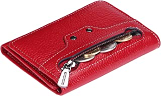 AINIMOER Small Leather Wallet for Women, Slim Compact Credit Card Holder RFID Blocking Wallets Organizer with Coin Pocket, Lichee Wine
