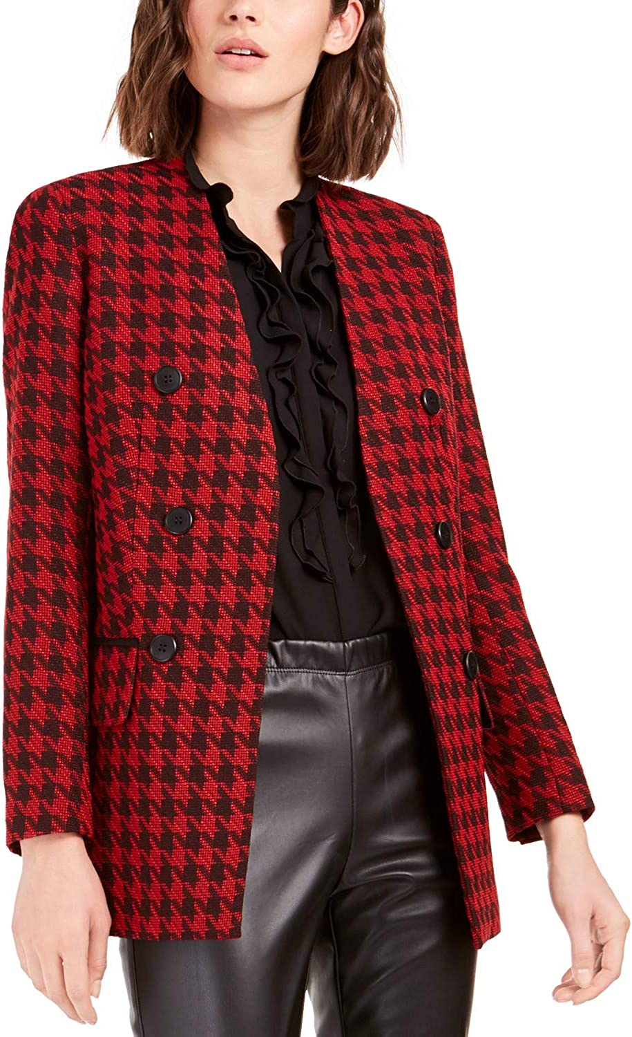 Bar III Women's Houndstooth Collarless Double-Breasted Jacket - 2