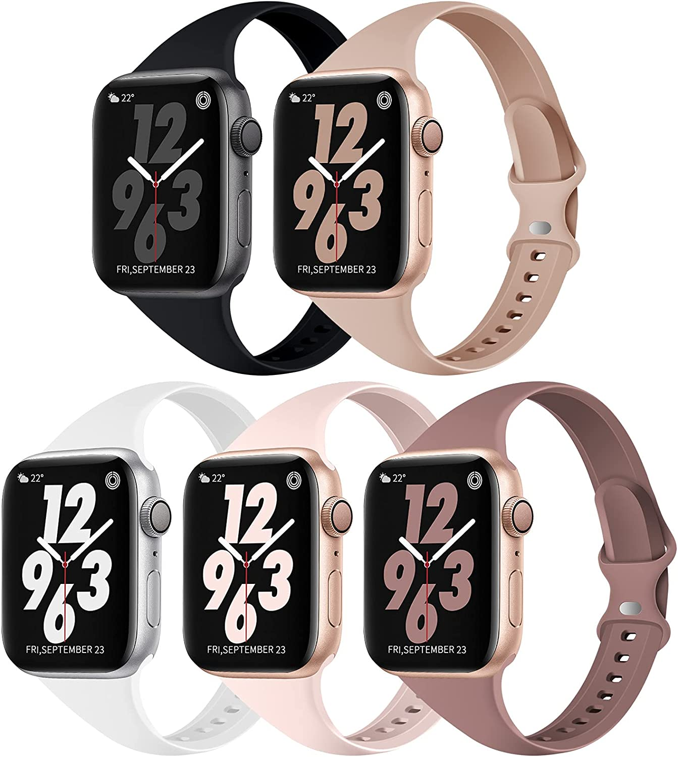 TSAAGAN 5 Pack Silicone Slim Band Compatible for Apple Watch Band 38mm 42mm 40mm 44mm, Soft Narrow Replacement Sport Strap Thin Wristband Accessory for iWatch Series SE/6/5/4/3/2/1 Women Men