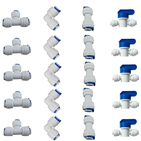 UEETEK 10 piezas de 1//4 de pulgada de pl/ástico de conexi/ón r/ápida Push In para conectar el conjunto de montaje de tubo de agua