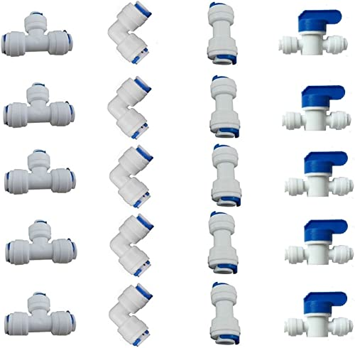 "1/4"" OD Quick Connect Push in to Connect for RO Water Reverse Osmosis System Water Tube Fitting Set of 20 (Ball Valve..."