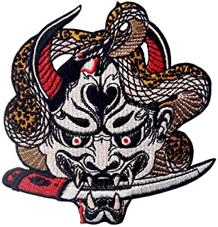 Toppa ricamata da applicare con ferro da stiro o cucitura, tema: Hannya Oni maschera