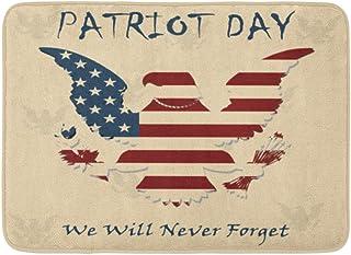 911私たちは忘れられない9 11愛国者の日アメリカ国旗ストライプ2001年9月要約屋内屋外ドアマットラグフロアマット滑り止め寝室用バスルームリビングルームキッチン23.6×15.7インチ家の装飾