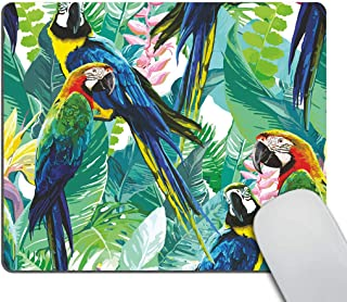 Smooffly Gaming Mouse Pad Custom,Colorful Parrots and Exotic Flowers Rectangle Non-Slip Rubber Mousepad