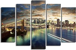 مجموعة لوحات قماشية للزينة من 5 قطع - طبيعي