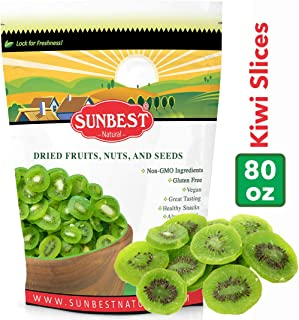 SUNBEST NATURAL Dried Kiwi Slices in Resealable Bag, Kosher Certified (5 Lb)