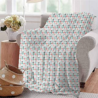 SSKJTC Soft Lightweight Blanket Classic Hounstooth Motifs Old Fashioned Timeless Illustration Mint Green Dark Coral Pale Pink Bedroom Dorm Sofa Baby Cot Beach W71 xL90