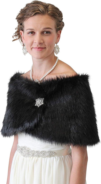 Bridal Shawl Wrap, Black Faux Fur Wedding Wrap, Free brooch pin