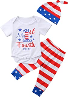 gllive Baby Girls Clothes Stripe Romper Outfit Pants Set +Hat+Headband Summer Spring Winter
