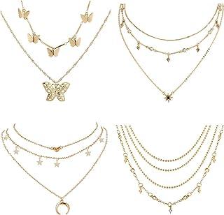 4 مجموعات من العقود المصنوعة من الذهب مزينة بقلادات بتصميم فراشة ونجمة وقمر، نمط لطيف فيسكو للنساء والفتيات المراهقات
