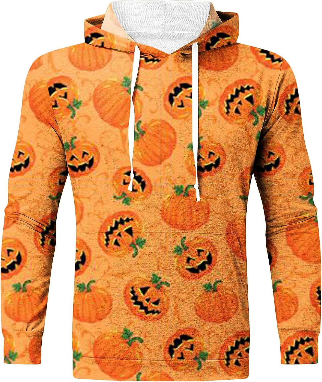 Halloween Sweatshirt for Men, Novelty Jack-O-Lantern Printed Casual Pullover Hoodies