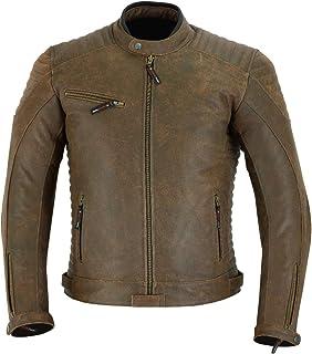 Jaqueta masculina de couro estilo motociclista estilo motoqueiro marrom escuro DC-4090
