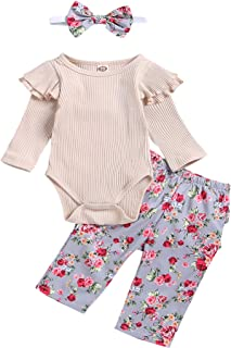 Baby Girl 3 Pieces Ruffle Cotton Outfit Set Long Sleeve Solid Color Romper Bodysuit + Floral Pants + Headband