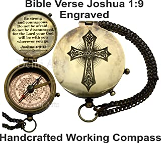 Be Strong and Courageous verse and cross engraved on working Compass, Confirmation Gift Ideas, Birthday, get well soon, Graduation gifts, Faith gift, Vintage gift, Inspirational