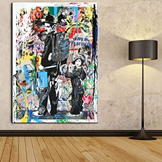 Faicai Art Modern Pop Art Banksy Canvas Painting Graffiti Art Prints Colorful Charlie Chaplin The Kid Oil Painting Modern Wall Art Posters Living Kids Room Decor Home Decorations Framed 16