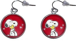 Orecchini pendenti in acciaio inossidabile, diametro 20 mm, fatto a mano, illustrazione Snoopy 2