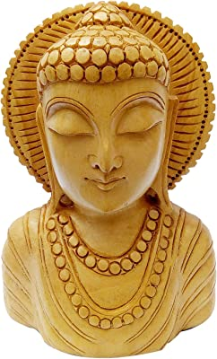 Wooden Gottem Buddha Head Carving 10cm