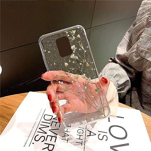 KC Real Dried Flower Phone Case Floral Soft Silicone Epoxy Back Cover For Mi Redmi Note 9 Pro Mi Redmi Note 9 Pro Max Transparent