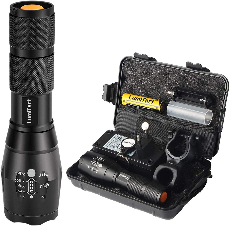 Lumitact G700 LED Taschenlampe, Extrem Hell 3000 Lumen CREE Wiederaufladbare Taktische Taschenlampen, Aufladbar Fackel für Camping Wandern und Notflle (Inklusive 1 x 18650 Batteries)