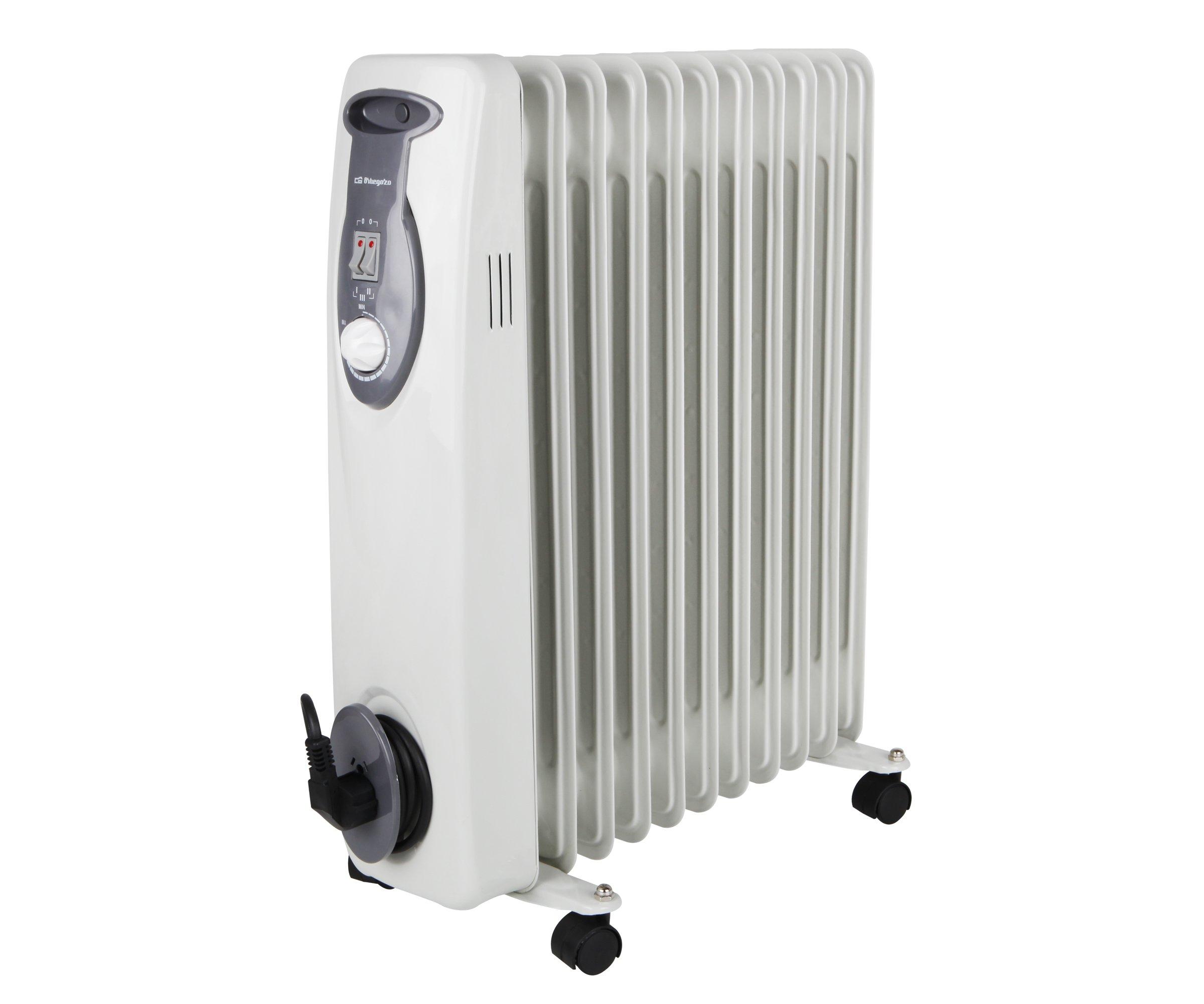 Orbegozo RA2500 - Radiador de aceite, 2500 W, 11 elementos, termostato, color blanco: Amazon.es: Hogar