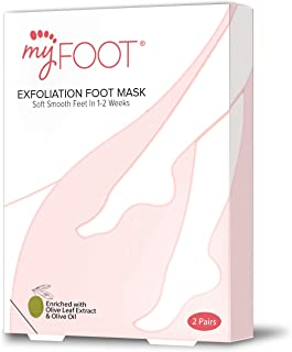 MyFoot Foot Peel Mask, Exfoliating Foot Treatment with Olive Leaf Extract. (2 Pairs per Box)